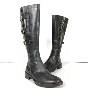 ECCO Tall Deep Leather Buckles Knee High Boots